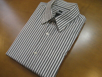 Bengal Stripe Striped Dress Shirt - Club Monaco Gray Bengal Stripe Classic Fit Cotton Mens Dress Shirt Size Medium