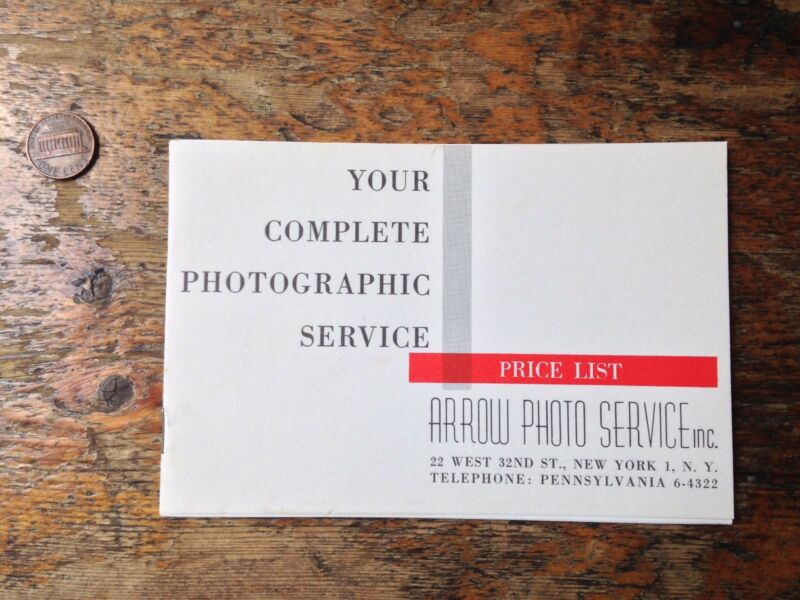 Vintage Arrow Photo Service price list NYC professional photography lab 1962