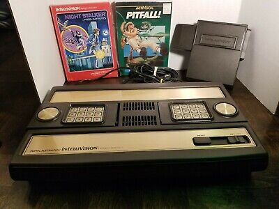 Vintage Mattel Intellivision Game Console w/2 Games UNTESTED / Voice Module!