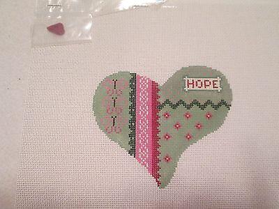 HOPE HEART-HEARTSTRINGS-HANDPAINTED NEEDLEPOINT CANVAS-STITCH GUIDE-EMBELLISHMEN