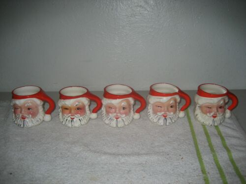 5 Vintage Christmas Napco Santa Claus face winking ceramic cups mugs Japan