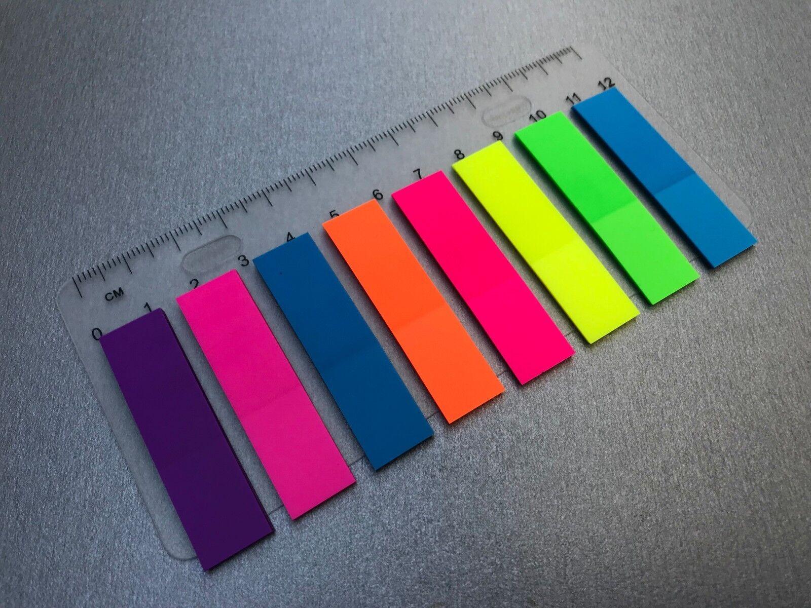 200 - 1000 x Haftmarker Index Marker Haftnotizen Lesezeichen neon - 5 Farben