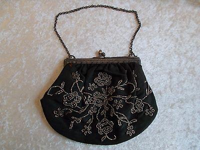 Antique Black Fabric Silver Metal-Beaded Framed Purse/Handbag