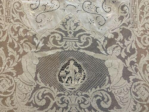 Antique ITALIAN Lace CENTERPIECE Runner Figural Classical MERMAIDS Point Venise