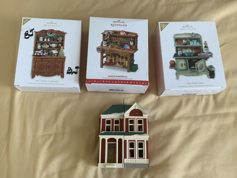 Lot Hallmark Keepsake Victorian Dollhouse KOC Event Ornament Mrs. Claus's Stove