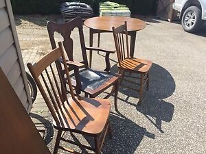 Solid Wood Table and 3 Chairs