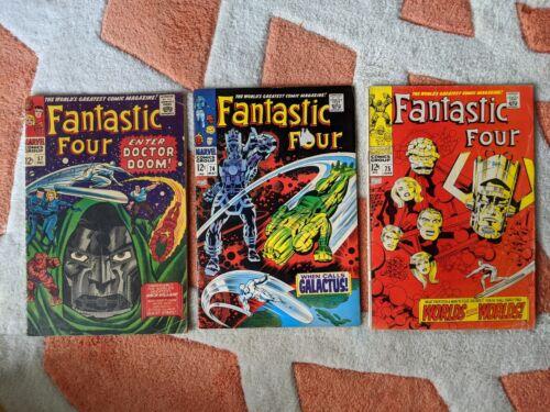 Fantastic Four Lot #57 #74 #75 - Galactus Silver Surfer - Marvel VG - 1966 1968