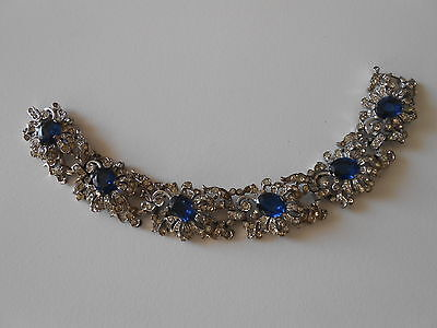 Early Vintage Trifari Sapphire and Rhinestone Bracelet Stunning