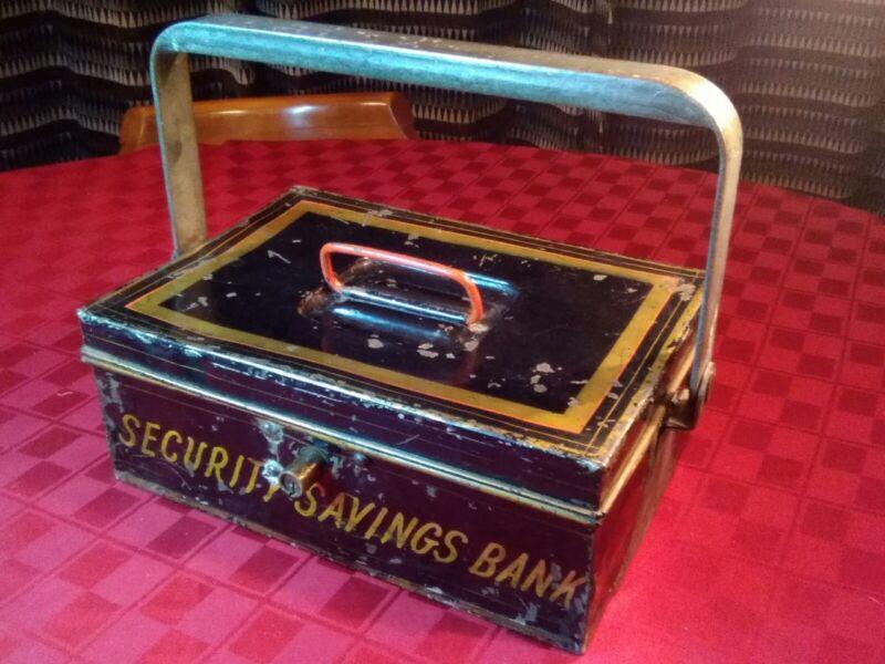 Antique SECURITY SAVINGS BANK Cash Box 12Lx7.5W No Key Late 1800s Salina Kansas