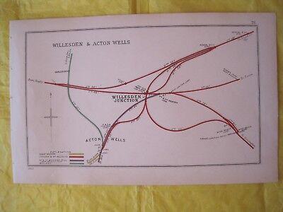 1903 RAILWAY CLEARING HOUSE Junc Diagram No.78 WILLESDEN JUNCTION & ACTON WELLS.