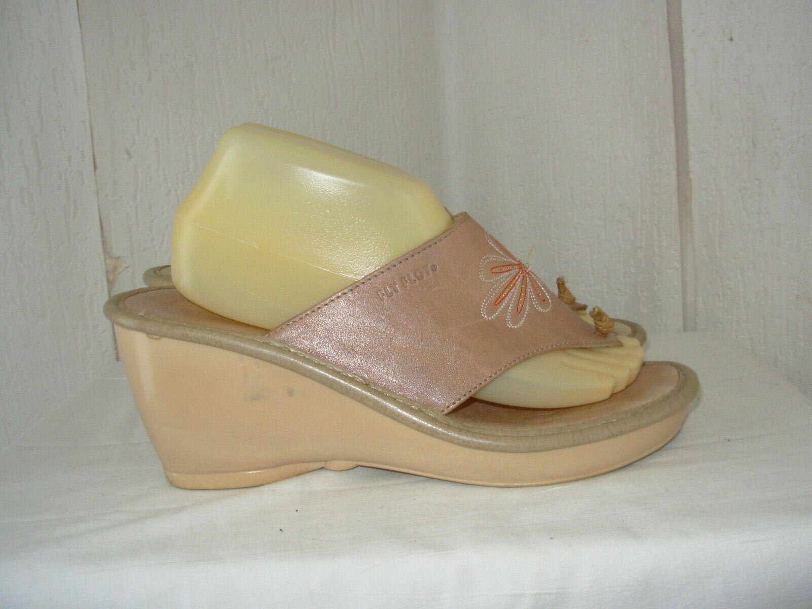 Fly flot tongs / sandales compensées cuir beige p.40 confortables