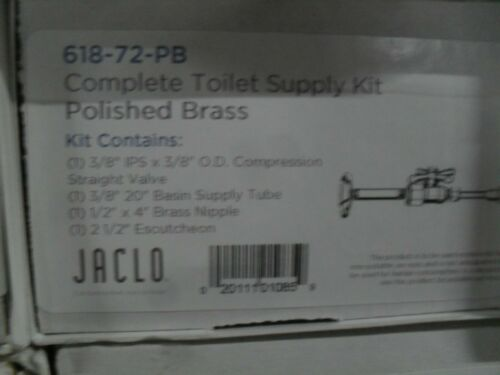 "Jaclo 618-72-PB 3/8"" IPS x 3/8"" OD Toilet straight Supply Kit Polished Brass"
