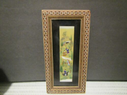 Vintage Persian Painting with Khatam Marquetry Frame 11x5
