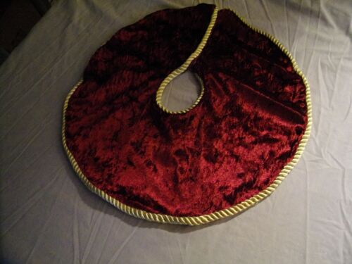 Christmas Tree Small Skirt Cranberry Faux Velvet Gold Rope Trim Hook Closure