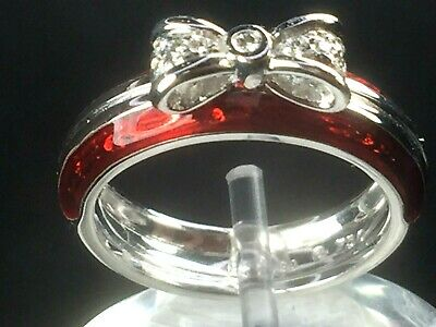 Signed Hidalgo 18k white gold  Diamond & red Enamel Bow Tie Ring sz 4.75..6.0gm