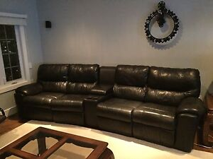 Leather Reclining Home Cinema Sofa 4 Seater