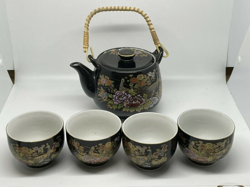 Vintage Japan Peacock Teapot Black Floral Tea Set With Cups