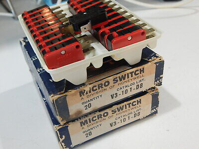 Microswitch V3-101-d8 Switch Snap Action Pin Plunger Quick Connect - Lot Of 4