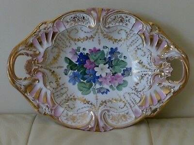 VINTAGE SPM PORCELAIN HAND PAINTED FLORAL BOWL GOLD EDGES