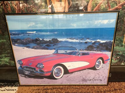 60 corvette wall picture with glass front