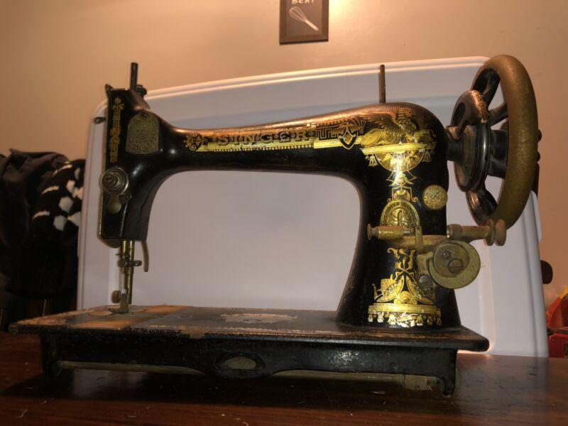 Rare Antique 1898 Singer Treadle Sphinx Egyptian Design Sewing Machine Lamp 1900