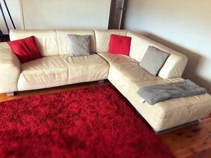 Cream L shape leather lounge  fantastic furniture. Fantastic furniture near new lounge   Sofas   Gumtree Australia