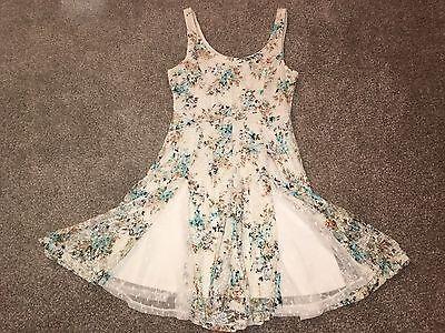 Kohls Disney Cinderella Collection Lace Tan Floral Skater Dress Juniors Size XS - Cinderella Dress Collection