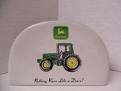 "John Deere Napkin Holder by Gibson ""Nothing Runs Like a Deere!"" Tractor"