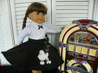 50's Era Poodle Skirt, Scarf, Belt, White Top-fits Molly &  all AG 18