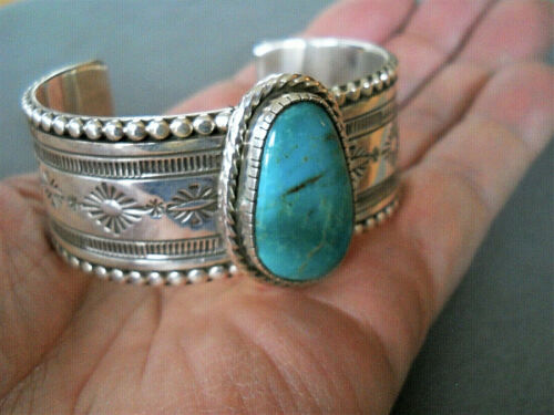 JEFF JAMES JR Native American Turquoise Stamped Sterling Silver Cuff Bracelet