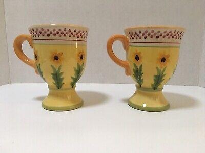 2 Sunflower Irish Coffee Mugs Footed Hot Chocolate Pfaltzgraff Pistoulet Kolpen Irish Hot Chocolate