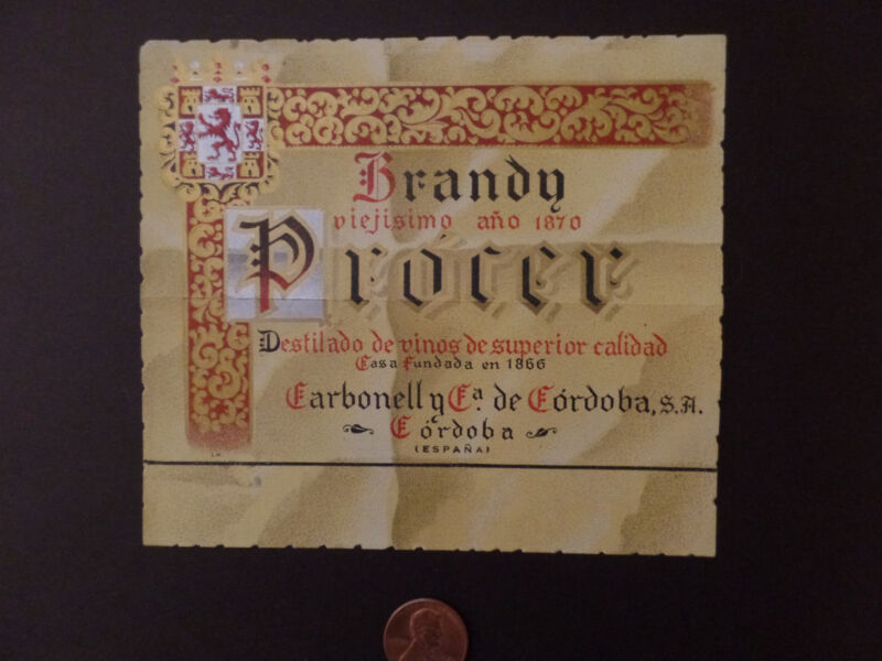 Label-PROCER-brandy paper,sign.Cordoba,ES.Espana.original Spain=ProductsOverTime