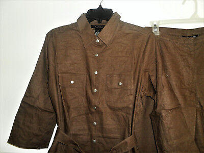 DIALOUGE STRETCH LINEN/RAYON SAFARI SHIRT AND CROP PANTS SIZE 8 NWT