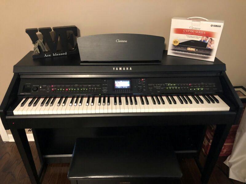 Yamaha Clavinova Digital Piano, CVP-701B, 88-Key Weighted, Black Walnut, 3 Pedal