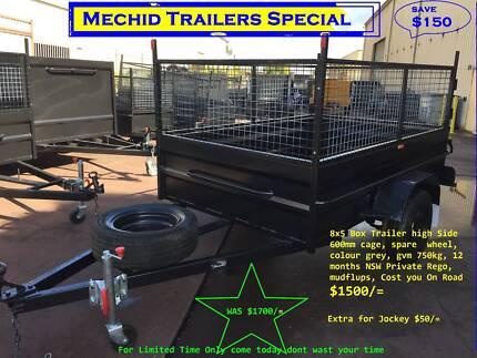 BOX TRAILER 8X5 HI SIDE & 600MM CAGE ON SALE 1Y PRIV REGO $1500