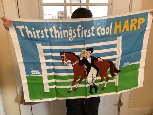 Vintage Guinness Harp Lager Limited 978 Horse Racing Linen Tea Towel