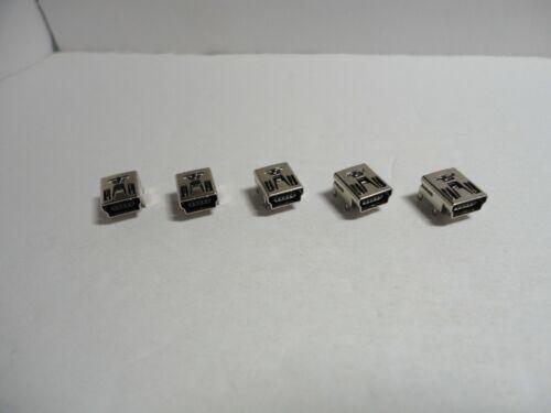 5 Pcs Pack Lot Mini USB Type B 5Pin Female Socket Right Angle DIP Jack Connector