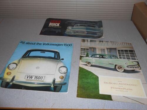 LOT OF 3 OLD VTG 56 BUICK 54 DE SOTO 63 VOLKSWAGEN  CATALOG BROCHURE ADVERTISING
