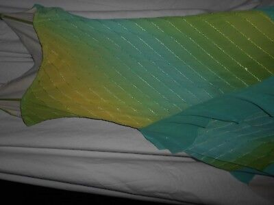 MERMAID COSTUME SZ AD SM GIRLS LG LIME GREEN AQUA  DRESS WITH SCARVES ECCO MIx