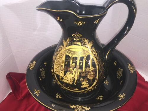 Antique Victorian Porcelain Basin Bowl & Water Pitcher Set 2 Pcs Black Gold.