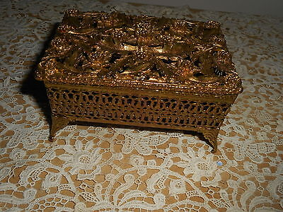 VINTAGE GOLD ORMOLU FILIGREE TRINKET  JEWELRY BOX WITH ORNATE  LID