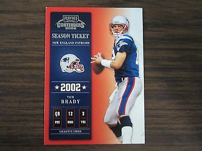 2002 Playoff Contenders Season Ticket # 7 Tom Brady Card New England Patriots B2