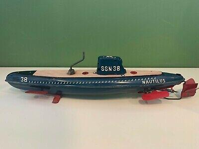 Nautilus SSN-38 Friction Submarine Tin Toy by Marusan Toys Japan