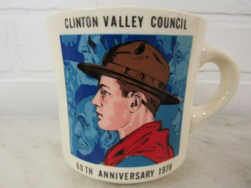 Vintage BSA Boy Scouts of America Coffee Mug Cup 60TH ANNIV 1978 CLINTON VALLEY