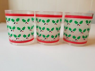 3 Vintage 1986 Lillian Vernon Christmas Holly Drinking Tumblers Frosted Acrylic