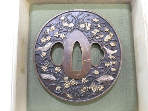 LARGE SIZE OLD SOFT METAL JAPANESE SWORD TSUBA HAND GUARD #SY29