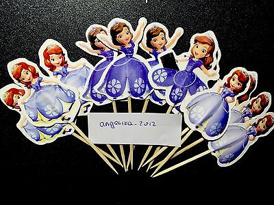12 X Sofia The First Cake Picks,Cupcake Toppers Girls Birthday Decoration Doll 4 - Sofia The First Cupcake Cake