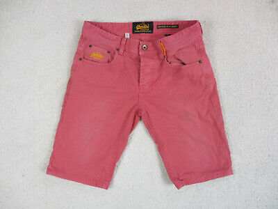 Superdry Jean Shorts Mens 32 Red Corporal Slim Short Denim Chino Casual *