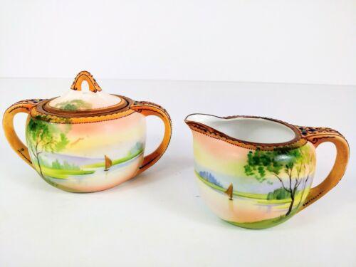 Nippon Morimura Hand-Painted Porcelain Sugar Bowl & Creamer Set Sail Boat