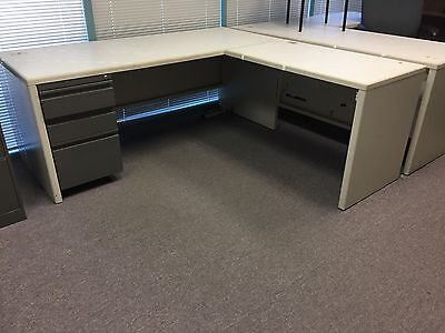 72 By 29 Metal Desk With 42 By 23.5 Return With 3 Drawers